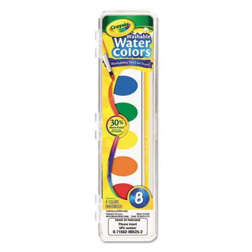 Image for Washable Watercolor Paint, 8 Assorted Colors