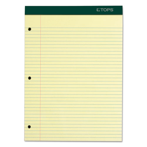 DOUBLE DOCKET RULED PADS, MEDIUM/COLLEGE RULE, 8.5 X 11.75, CANARY, 100 SHEETS