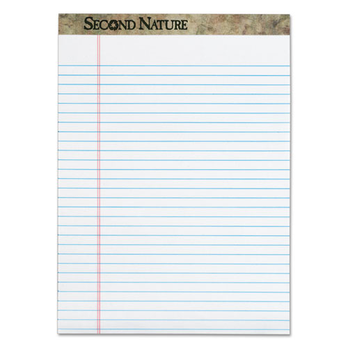 SECOND NATURE RECYCLED PADS, WIDE/LEGAL RULE, 8.5 X 11.75, WHITE, 50 SHEETS, DOZEN