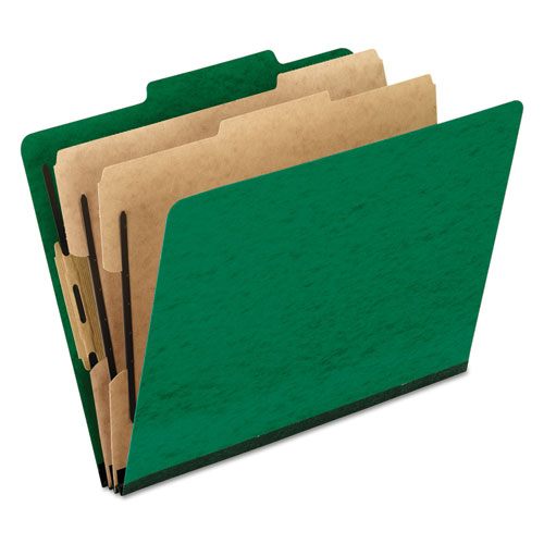 SIX-SECTION COLORED CLASSIFICATION FOLDERS, 2 DIVIDERS, LETTER SIZE, GREEN, 10/BOX