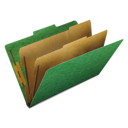 SIX-SECTION COLORED CLASSIFICATION FOLDERS, 2 DIVIDERS, LEGAL SIZE, GREEN, 10/BOX