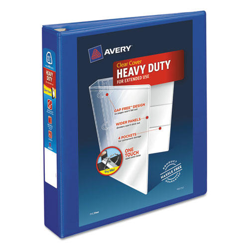 HEAVY-DUTY VIEW BINDER WITH DURAHINGE AND ONE TOUCH EZD RINGS, 3 RINGS, 1.5