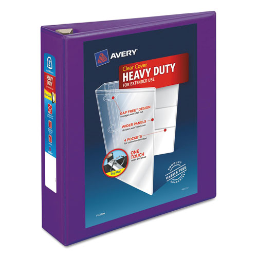 HEAVY-DUTY VIEW BINDER WITH DURAHINGE AND ONE TOUCH EZD RINGS, 3 RINGS, 2