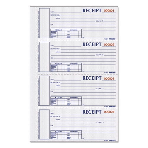 Hardcover Numbered Money Receipt Book, 6 7/8 X 2 3/4, Three-Part, 200 Forms