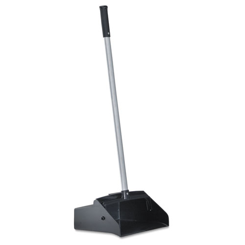 Image for Lobby Dust Pan, Plastic/aluminum, 11 3/4' Wide, 34' Handle, Black/silver