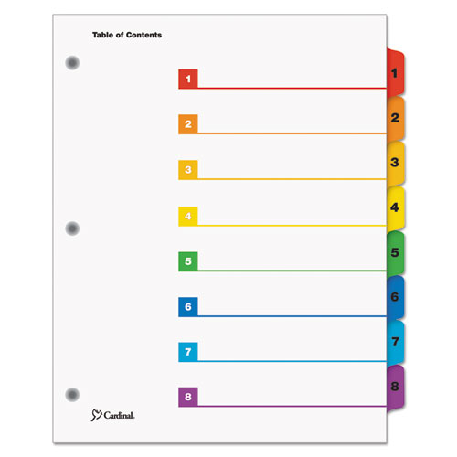 QUICKSTEP ONESTEP PRINTABLE TABLE OF CONTENTS AND DIVIDERS, 8-TAB, 1 TO 8, 11 X 8.5, WHITE, 24 SETS