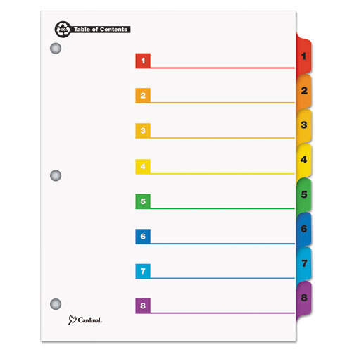 ONESTEP 100% RECYCLED PRINTABLE TABLE OF CONTENTS DIVIDERS, 8-TAB, 1 TO 8, 11 X 8.5, WHITE, 1 SET