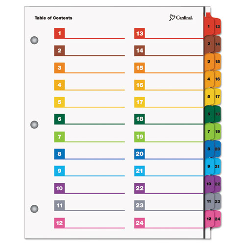ONESTEP PRINTABLE TABLE OF CONTENTS AND DIVIDERS - DOUBLE COLUMN, 24-TAB, 1 TO 24, 11 X 8.5, WHITE, 1 SET
