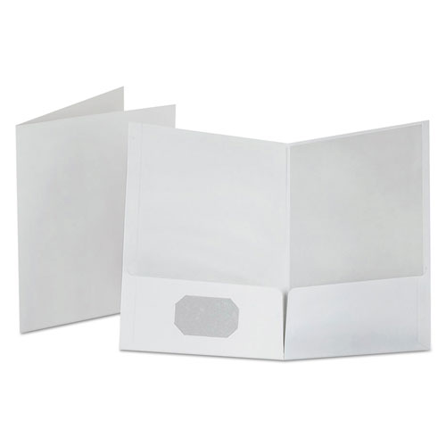 Linen Finish Twin Pocket Folders, Letter, White, 25/box