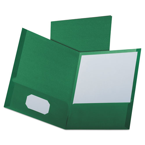 Linen Finish Twin Pocket Folders, Letter, Hunter Green,25/box