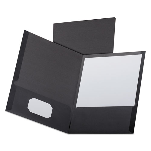 Linen Finish Twin Pocket Folders, Letter, Black,25/box