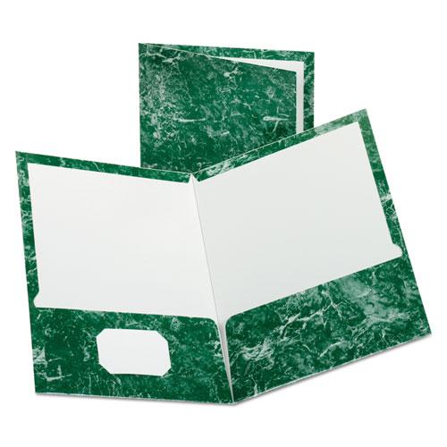 Marble Design Laminated High Gloss Twin Pocket Folder, Emerald Green, 25/box