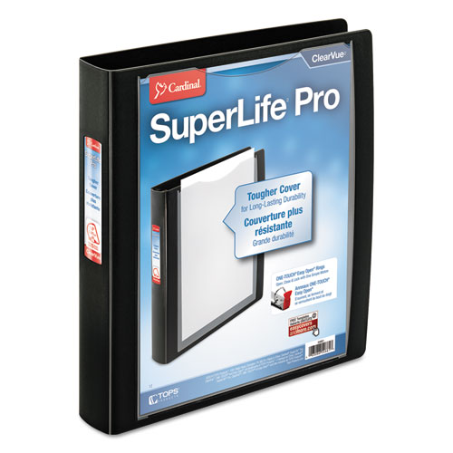 SUPERLIFE PRO EASY OPEN CLEARVUE LOCKING SLANT-D RING BINDER, 3 RINGS, 1.5