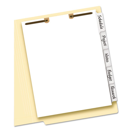 WRITE & ERASE TAB DIVIDERS FOR CLASSIFICATION FOLDERS, 5-TAB, SIDE TAB, LETTER