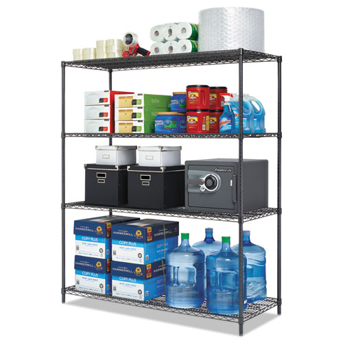 Image for ALL-PURPOSE WIRE SHELVING STARTER KIT, 4-SHELF, 60 X 24 X 72, BLACK ANTHRACITE PLUS