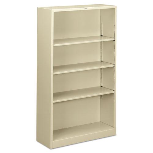 Metal Bookcase, Four-Shelf, 34-1/2w X 12-5/8d X 59h, Putty