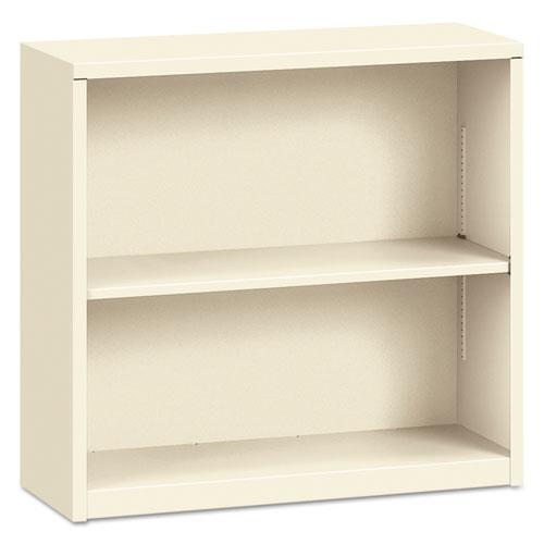 Metal Bookcase, Two-Shelf, 34-1/2w X 12-5/8d X 29h, Putty