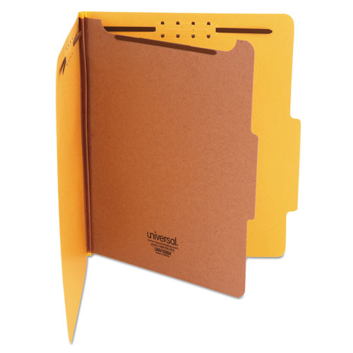 BRIGHT COLORED PRESSBOARD CLASSIFICATION FOLDERS, 1 DIVIDER, LETTER SIZE, YELLOW, 10/BOX
