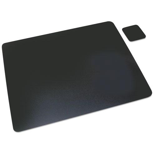 Leather Desk Pad W/coaster, 19 X 24, Black