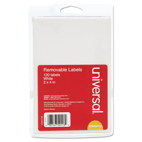 SELF-ADHESIVE REMOVABLE ID LABELS, 2 X 4, WHITE, 3/SHEET, 40 SHEETS/PACK