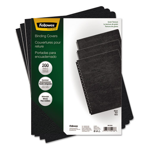 Image for Classic Grain Texture Binding System Covers, 11-1/4 X 8-3/4, Black, 200/pack