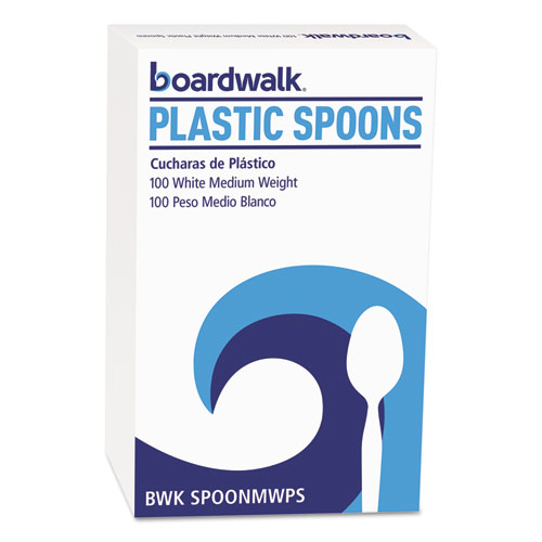MEDIUMWEIGHT POLYSTYRENE CUTLERY, TEASPOON, WHITE, 10 BOXES OF 100/CARTON