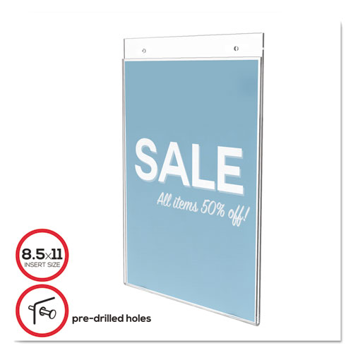 CLASSIC IMAGE WALL-MOUNT SIGN HOLDER, PORTRAIT, 8 1/2 X 11, CLEAR