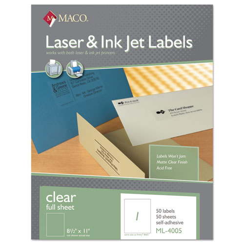 LASER/INKJET MATTE CLEAR FULL SHEET LABELS, INKJET/LASER PRINTERS, 8.5 X 11, CLEAR, 50/BOX