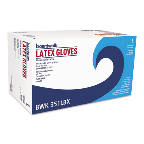 Powder-Free Latex Exam Gloves, Large, Natural, 4 4/5 Mil, 100/box