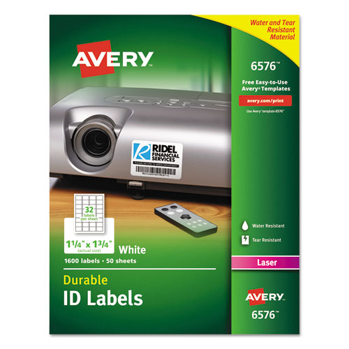 DURABLE PERMANENT ID LABELS WITH TRUEBLOCK TECHNOLOGY, LASER PRINTERS, 1.25 X 1.75, WHITE, 32/SHEET, 50 SHEETS/PACK