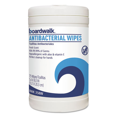 Image for Antibacterial Wipes, 8 X 5 2/5, Fresh Scent, 75/canister, 6 Canisters/carton