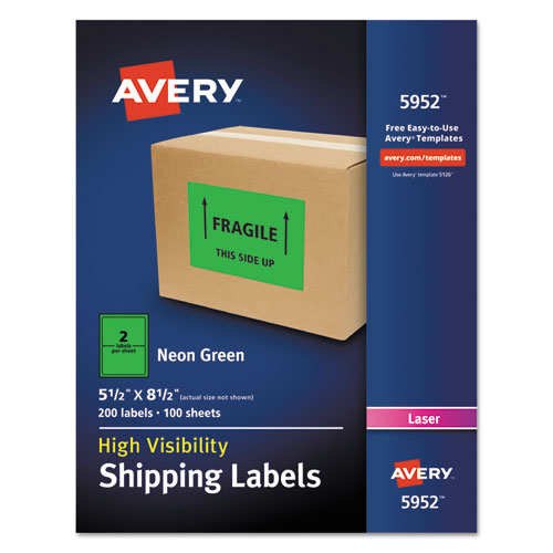 HIGH-VISIBILITY PERMANENT LASER ID LABELS, 5 1/2 X 8.5, NEON GREEN, 200/BOX