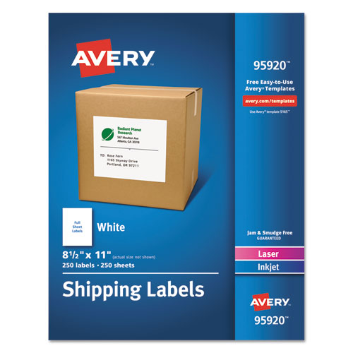 WHITE SHIPPING LABELS-BULK PACKS, INKJET/LASER PRINTERS, 8.5 X 11, WHITE, 250/BOX