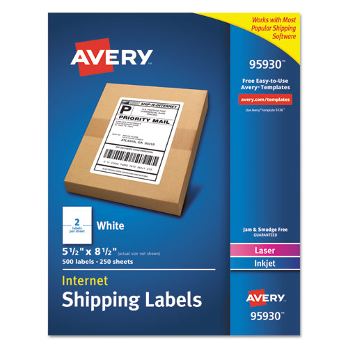 WHITE SHIPPING LABELS-BULK PACKS, INKJET/LASER PRINTERS, 5.5 X 8.5, WHITE, 2/SHEET, 250 SHEETS/BOX