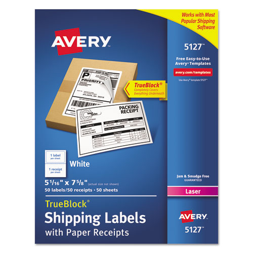 SHIPPING LABELS WITH PAPER RECEIPT AND TRUEBLOCK TECHNOLOGY, INKJET/LASER PRINTERS, 5.06 X 7.63, WHITE, 50/PACK