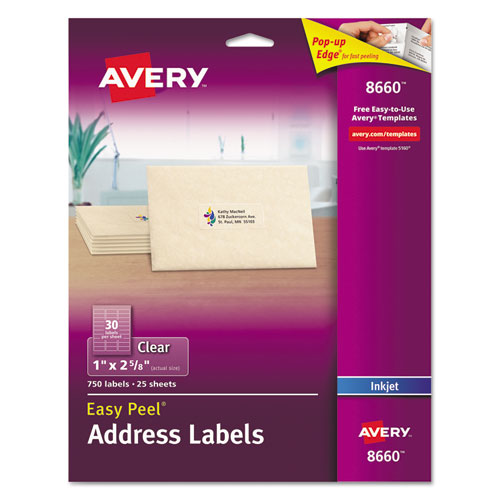 MATTE CLEAR EASY PEEL MAILING LABELS W/ SURE FEED TECHNOLOGY, INKJET PRINTERS, 1 X 2.63, CLEAR, 30/SHEET, 25 SHEETS/PACK
