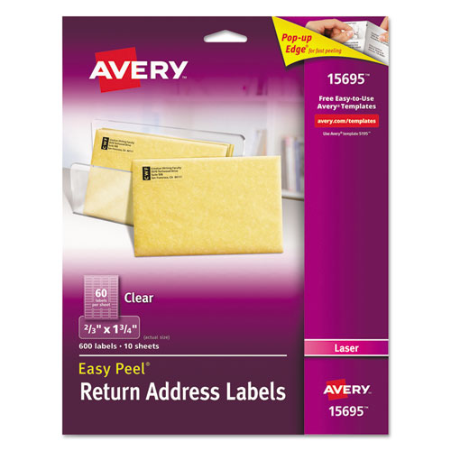 MATTE CLEAR EASY PEEL MAILING LABELS W/ SURE FEED TECHNOLOGY, LASER PRINTERS, 0.66 X 1.75, CLEAR, 60/SHEET, 10 SHEETS/PACK