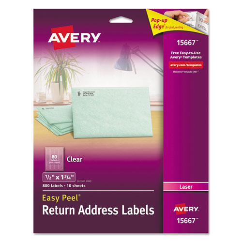 MATTE CLEAR EASY PEEL MAILING LABELS W/ SURE FEED TECHNOLOGY, LASER PRINTERS, 0.5 X 1.75, CLEAR, 80/SHEET, 10 SHEETS/PACK