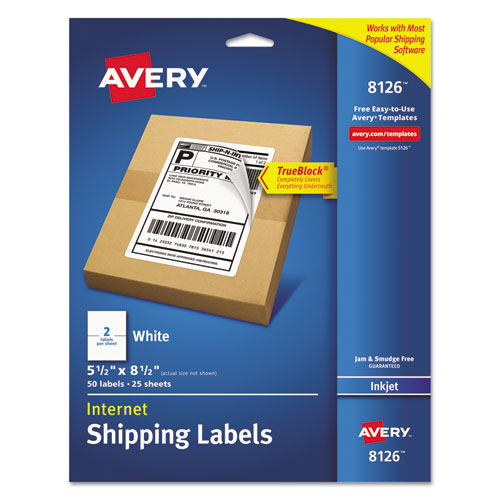 SHIPPING LABELS W/ TRUEBLOCK TECHNOLOGY, INKJET PRINTERS, 5.5 X 8.5, WHITE, 2/SHEET, 25 SHEETS/PACK