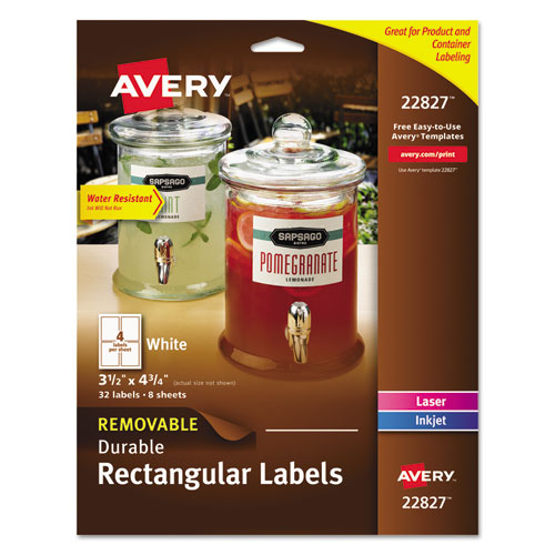 REMOVABLE PRINT-TO-THE-EDGE WHITE LABELS W/ SURE FEED, 3 1/2 X 4 3/4, 32/PACK