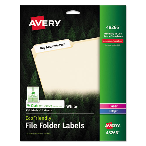 ECOFRIENDLY PERMANENT FILE FOLDER LABELS, 0.66 X 3.44, WHITE, 30/SHEET, 25 SHEETS/PACK