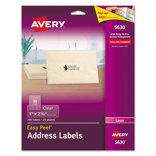 MATTE CLEAR EASY PEEL MAILING LABELS W/ SURE FEED TECHNOLOGY, LASER PRINTERS, 1 X 2.63, CLEAR, 30/SHEET, 25 SHEETS/BOX