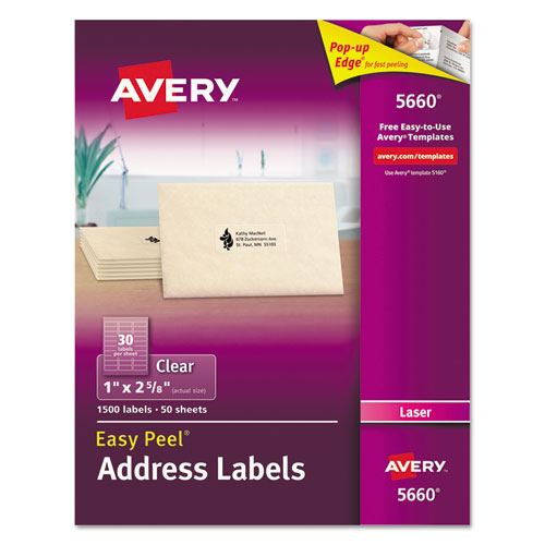 MATTE CLEAR EASY PEEL MAILING LABELS W/ SURE FEED TECHNOLOGY, LASER PRINTERS, 1 X 2.63, CLEAR, 30/SHEET, 50 SHEETS/BOX