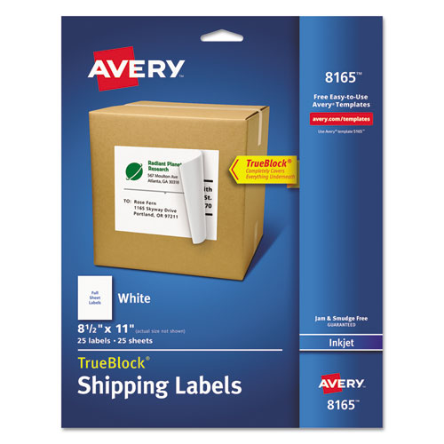 SHIPPING LABELS WITH TRUEBLOCK TECHNOLOGY, INKJET PRINTERS, 8.5 X 11, WHITE, 25/PACK