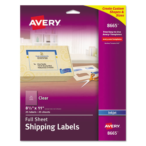 MATTE CLEAR SHIPPING LABELS, INKJET PRINTERS, 8.5 X 11, CLEAR, 25/PACK