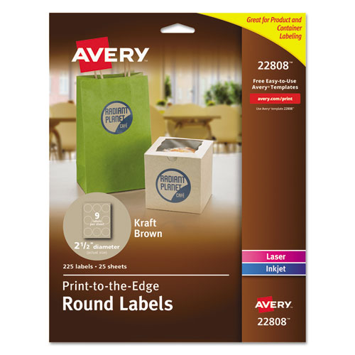 ROUND BROWN KRAFT PRINT-TO-THE-EDGE LABELS, 2.5
