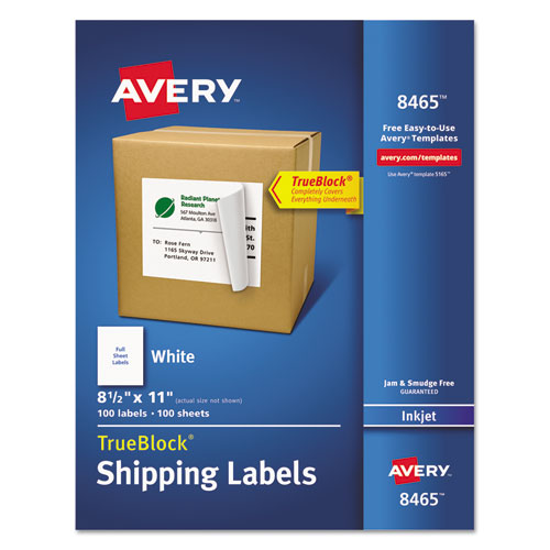 SHIPPING LABELS WITH TRUEBLOCK TECHNOLOGY, INKJET PRINTERS, 8.5 X 11, WHITE, 100/BOX