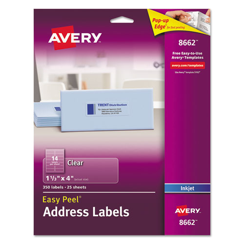 MATTE CLEAR EASY PEEL MAILING LABELS W/ SURE FEED TECHNOLOGY, INKJET PRINTERS, 1.33 X 4, CLEAR, 14/SHEET, 25 SHEETS/PACK