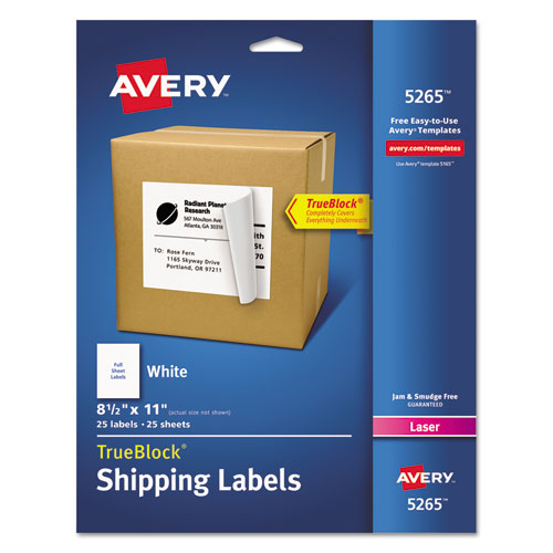 SHIPPING LABELS WITH TRUEBLOCK TECHNOLOGY, LASER PRINTERS, 8.5 X 11, WHITE, 25/PACK