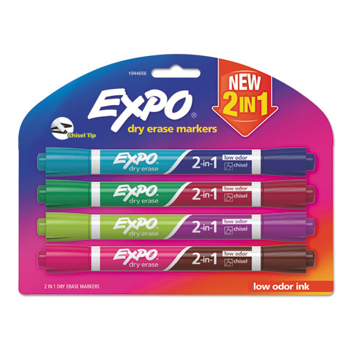 2-IN-1 DRY ERASE MARKERS, BROAD/FINE CHISEL TIP, ASSORTED COLORS, 4/PACK
